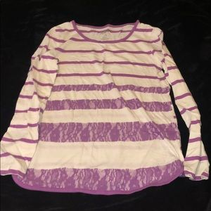 White and purple striped long sleeve
